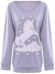 Cute Horse and Heart Printed Skew Neck Pullover Sweatshirt For Women -