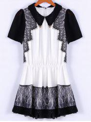 Collared Lace Trim Mini Chiffon Dress - BLACK