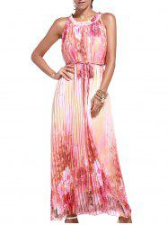 Sleeveless Print Pleated Maxi Dress with Belt