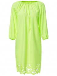 Sweet Scoop Neck Neon Green Openwork 3/4 Sleeve Blouse For Women