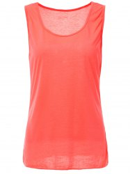 Casual Style Scoop Neck Solid Color Tank Top For Women - ROSE