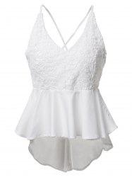Stylish White Spaghetti Strap Backless Lace High Low Women's Blouse