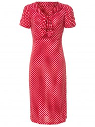 Vintage V-Neck Bowknot Short Sleeve Polka Dot Women's Dress -