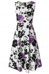 Round Collar Sleeveless Floral Midi Skater Dress - PURPLE