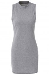 Stylish Turtle Neck Solid Color Sleeveless Bodycon Dress For Women - GRAY