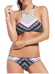 Attractive Spaghetti Straps Striped Printed Bikini Set For Women