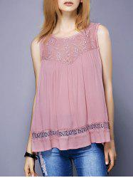 Sweet Round Neck Lace Spliced Slit Women's Tank Top
