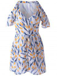 Elegant Cold Shoulder Print Dress For Women - GREEN AND WHITE AND APRICOT M