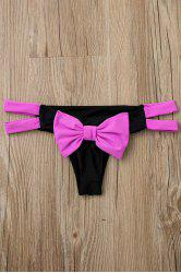 Sexy Color Block Bowknot Embellished Briefs For Women