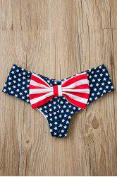 Sexy Style Star Stripe Print Bowknot Embellished Briefs For Women
