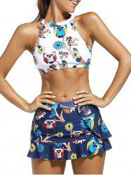 High Neck Animal Print Crop Top with Skirt + Briefs Swimsuit -