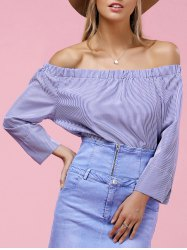 Stylish Off The Shoulder Long Sleeve Striped Blouse For Women -