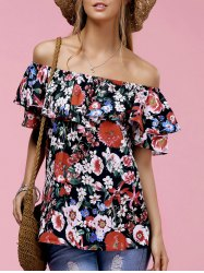 Fashionable Off The Shoulder Floral Print Ruffle Top For Women -
