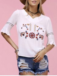 Trendy V-Neck Embroidered Women's T-Shirt
