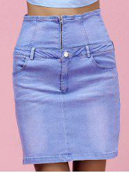 High Waist Skinny Denim Skirt - LIGHT BLUE