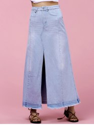 High-Waisted Pocket Design Denim Maxi Skirt With Slit - LIGHT BLUE