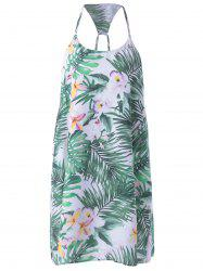 Palm Print Mini Slip Dress -