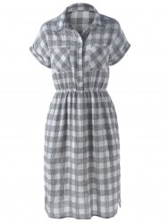 Slit Plaid Short Sleeve Casual Shirt Dress - GRAY S