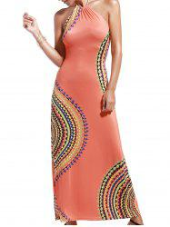 Bohemian Halter Abstract Print Open Back Maxi Dress For Women - ORANGEPINK
