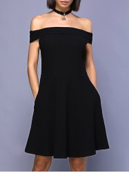 Off The Shoulder Mini A-Line Skater Dress