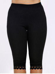 Plus Size Lace Trim High Waist Capri Leggings - BLACK