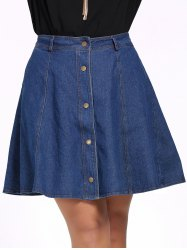 Plus Size Buttoned Pure Color Skater Denim Skirt
