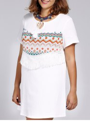 Ethnic Style Plus Size Fringed Tribal Print Women's Dress -