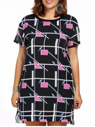 Chic Plus Size Fringed Geometric Print Women's Dress