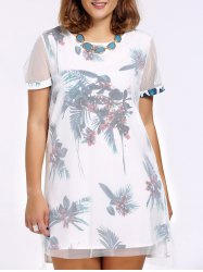 Chic Plus Size Plant Print High-Low Hem Mesh Women's Dress -