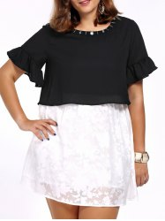 Plus Size Two Tone Mini Tunic Dress -