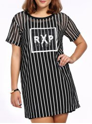 Chic Plus Size Black Cami Dress + Striped Beaded Dress Women's Twinset - BLACK 5XL