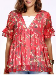 Plus Size V Neck Floral Print Peasant Blouse