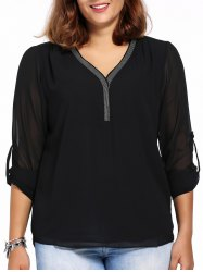 Chic Plus Size High-Low Hem V Neck Long Sleeve Women's Mesh Blouse - BLACK