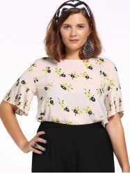 Chic Plus Size Tiny Flower Print Pleated Women's Blouse - OFF WHITE 5XL