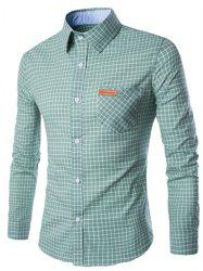 Turn-Down Collar Checked Pocket Design Long Sleeve Shirt For Men