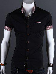 Turn-Down Collar Checked Edging Short Sleeve Shirt For Men
