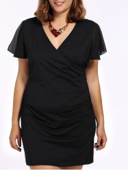 Plus Size Mesh Patchwork Plunging Neck Fitted Dress -
