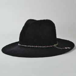 Punk Style Gothic Cross Chain Embellished Outdoor Sun Hat For Women -