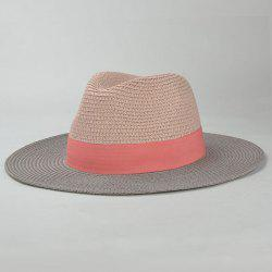 Stylish Wide Band Embellished Color Match Sunscreen Straw Hat For Women -