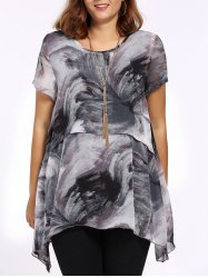 Chic Plus Size Asymmetric Printed Women's Blouse - GRAY