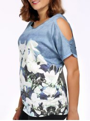 Chic Plus Size Cold Shoulder Floral Print Women's Blouse