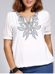 Chic Plus Size V Neck Flower Embroidered Women's Blouse