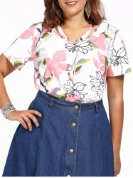 Plus Size Allover Floral V Neck Top -