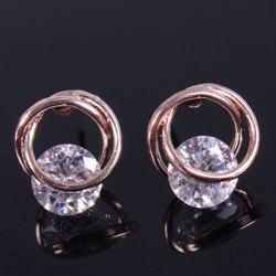 Vintage Rhinestone Circle Stud Earrings