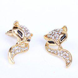 Pair of Vintage Rhinestone Fox Shape Earrings