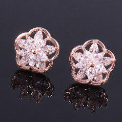 Pair of Vintage Rhinestone Flower Stud Earrings - ROSE GOLD