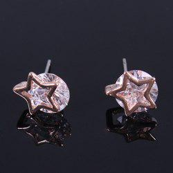 Pair of Vintage Rhinestone Pentagram Stud Earrings