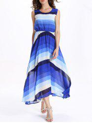 Ombre Stripe Sleeveless Maxi Flowing Swing Dress