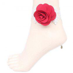 Rose Crochet Lace Flower Anklet -