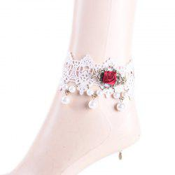 Handmade Faux Pearl Rose Floral Anklet - WHITE